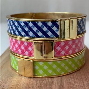 Talbots plaid bangle bracelets